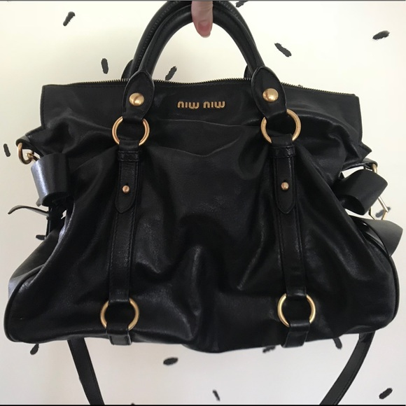 Miu Miu Black Leather Satchel Bow Bag Purse. M 5b8ec90d619745b8e1fc4317 113f8df6e8991